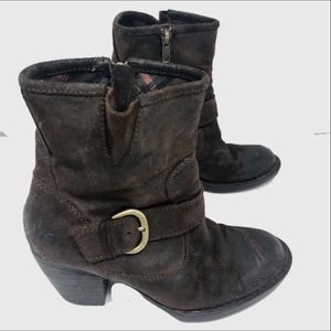 Born Slouchy distressed leather ankle boots